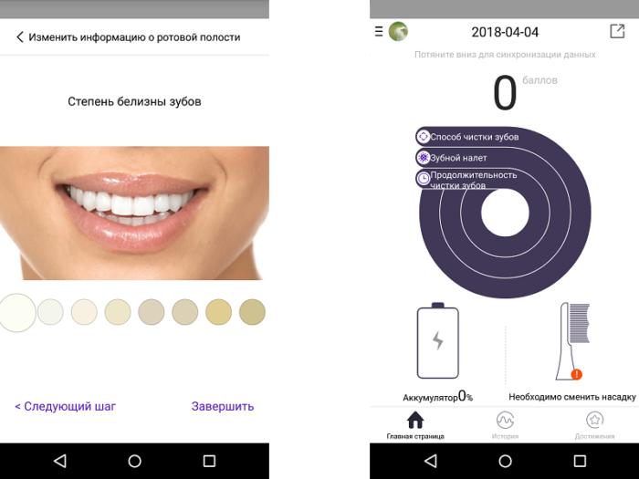 Сведения о чистке зубов и достижениях